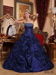 Navy Blue Beaded Strapless Floor-length Quinceanera Gown with Pick-ups