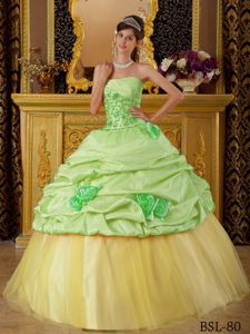 Strapless Green and Yellow Long Quince Dresses with Flower and Pick-ups