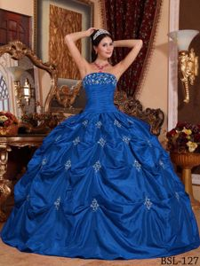 Strapless Blue Floor-length Quinceanera Gown with Appliques and Pick-ups