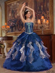 Unique Sweetheart Blue Full-length Beaded Quinceanera Gowns in Deerfield