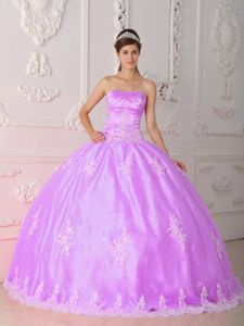 Lavender Strapless Floor-length Quinceanera Gown with Appliques and Lace