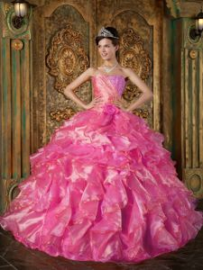 Perfect Hot Pink Sweetheart Long Sweet 16 Dresses with Ruffles in Aurora