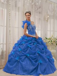 Blue Ruffled One Shoulder Quinceanera Gown with Pick-ups and Applique