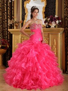 Hot Pink Beaded Sweetheart Long Quinceanera Gown with Ruffles in Elgin