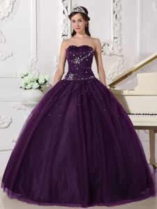 Dark Purple Sweetheart Floor-length Quinceanera Gowns with Rhinestones