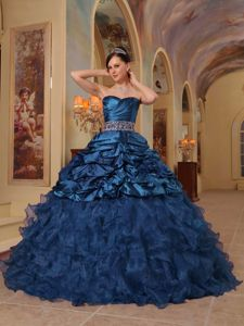 Ruffled Beading Sash Ruched Navy Blue Quinceanera Gown in El Tocuyo