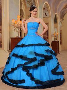 Aqua Blue Appliques Organza Dabajuro Quinceanera Dress with Black Hem