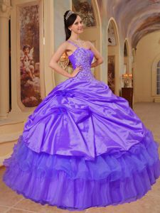 Purple One Shoulder Appliques Ruched Quinceanera Dress in Tucupita