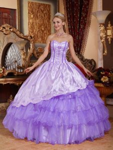 Layered Embroidery Lilac Ruched Tinaco Sweet 16 Quinceanera Dresses