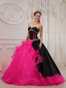 Hot Pink and Black Appliques Cheap Quinceanera Dress in Tinaquillo