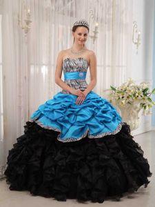Zebra Aqua Blue and Black Ruffles El Pao Quinceanera Dress with Belt