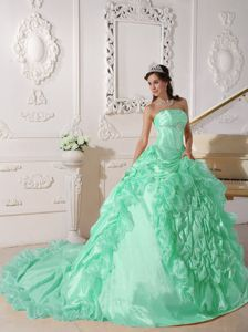 Beading Apple Green Quinceanera Gown with Chapel Train in Mariara