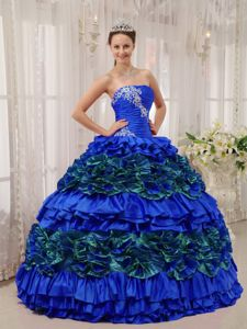 Appliques Ruched Blue Ruffles Caicara del Orinoco Quinceanera Dress
