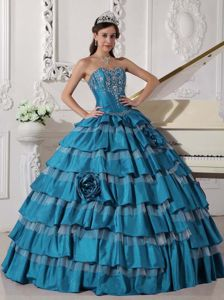Layered Embroidery Taffeta Flowers Teal Vieques Quinceanera Dress