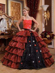 Multi-colored Appliques Layered Organza Trujillo Alto Quinceanera Dress