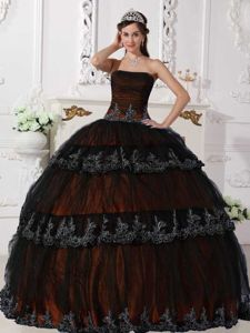 Ruched Brown Appliques Quinceanera Dresses in Aguadilla Puerto Rico