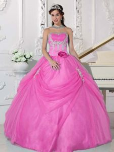 Hand Made Flower Pink Appliques Quinceanera Dresses Quebradillas