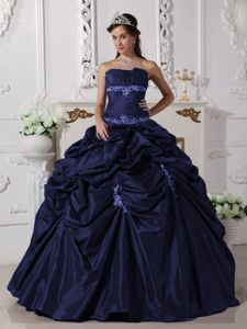 Pick-ups Taffeta Appliques Navy Blue Ponce Dress for Quinceanera