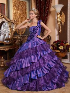 Layered Hand Made Flowers One Shoulder Purple Quinceanera Dresses