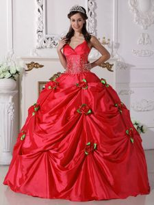 Spaghetti Straps Flowers Red Beaded Quinceanera Dresses in Guaynabo