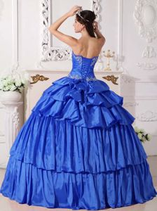 Detachable Ruched Beading Appliques Blue Guayanilla Quinceanera Dress