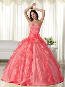 Embroidery Orange Red Sweetheart Cheap Quinceanera Dress in Comerio