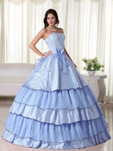 Layered Flower Light Blue Beaded Caguas Sweet 15 Dress for Quinceanera