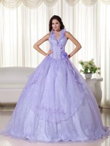 Halter Beaded Lilac Embroidery Quinceanera Dress in Grande Puerto Rico