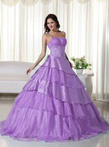 Tiered Beaded One Shoulder Organza Lavender Aibonito Quinceanera Dress