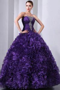 Ruffled Layers Beaded Purple Guasipati Sweet 15 Dresses for Quince