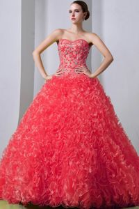 Ruffles Watermelon Organza Beaded Train Quinceanera Dress in Iboriwo