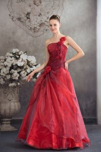 Red Hand Made Flowers One Shoulder Organza Barbacoas Quinceanera Dress