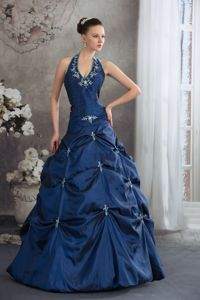 Navy Blue Halter Beading Appliques Pretty Quinceanera Dress in Mantecal