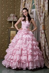 Ruffled Layers Baby Pink Beaded One Shoulder Elorza Quinceanera Dress