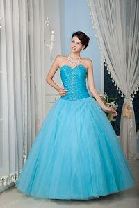 Aqua Blue Tulle Beading Quinceanera Dress in Almirante Bocas del Toro