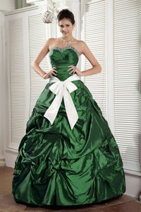 Hunter Sweetheart Ruffled formal Quinceanera Gowns with Bowknot Sash in Carlsbad