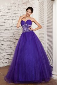 Beading Purple Ruched Sweetheart Tulle Quinceanera Dress in Achaguas