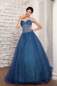 Sweetheart Teal Tulle Beading Santa Ana Quinceanera Dress for Sweet 16