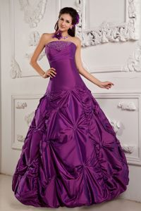 Embroidery Taffeta Beaded Purple Quinceanera Dress in Coamo Puerto Rico