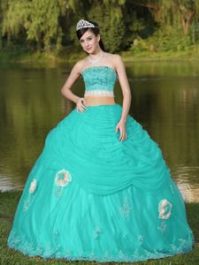 Green Blue Strapless Beaded Hand Flowery Tulle Sweet 16 Dresses in Campbell
