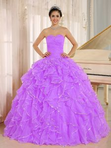 Lavender Sweetheart Ruffled Beaded Gorgeous Quinceanera Gowns in Canoga Park