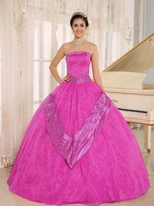 Strapless Hot Pink Beaded Floor Length Semi formal Quinceanera Dresses in Bakersfield