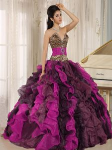 Muti-Color Strapless v Neck Leopard Printed Senior Quinceanera Dress in Auburn