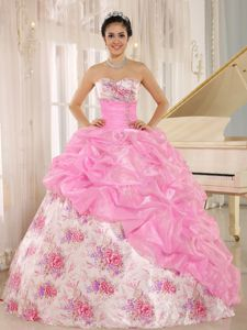 Floor Length Sweetheart formal Quinceanera Gowns with Printed Flowers in Aptos