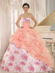 Printed Sweetheart Ball Gown Elegant Quinceanera Dress in Floor Length in Arcadia