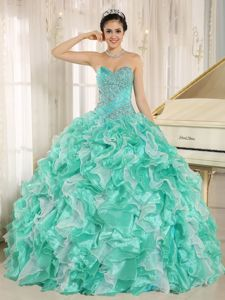 Sweetheart Beaded Ruffled Apple Green Quinceanera Dress in Floor Length in Arcadia