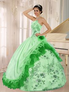 Spring Green Hand Flowery Strapless Embroidery Beaded Quinceanera Gowns in Anaheim