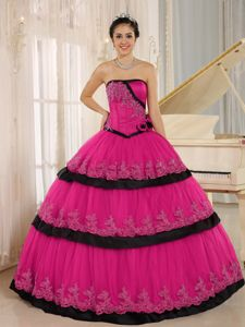 Hand Flowery Hot Pink and Black Floor Length Quinceanera Dress with Appliques
