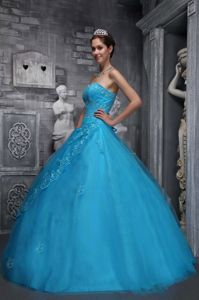 Sweetheart Baby Blue Tulle formal Quinceanera Dress with Appliques Beading in Alameda