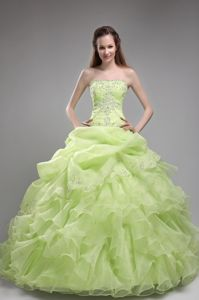 Spring Green Strapless Floor Length Beaded Elegant Quinceanera Gowns with Ruffles